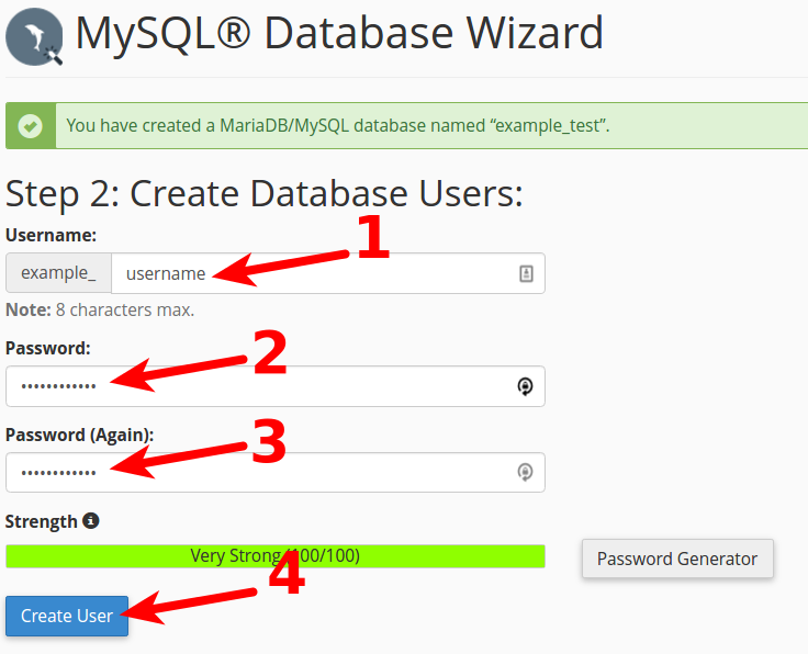 Creating a database in cPanel (MySQL Database Wizard